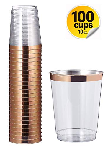 Carriage Large (Rose Gold Rim Clear Hard Plastic Party Cups – Elegant Disposable Drinkware Rimmed Tumblers for Weddings, Fancy Bachelorette, Birthday, 50th Anniversary – 10oz Bulk Glasses Value Set, 100ct Pack)