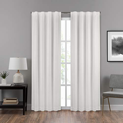 (ECLIPSE Draftstopper Summit Solid Rod Pocket Single Panel Privacy Window Treatment Living Room, 40x84, White)