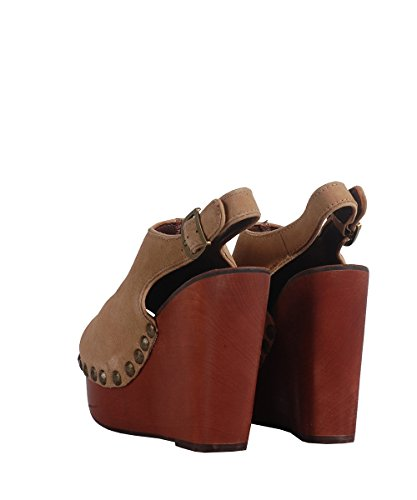 Jeffrey Campbell Snick Sandal Brown-Sandalias Castañas Integrada Con Tachuelas Doradas, Color Blanco Brown