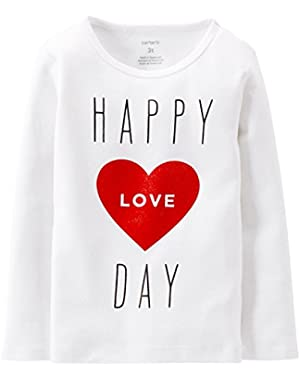Baby Girls' Happy Love Day Tee (Baby) - White