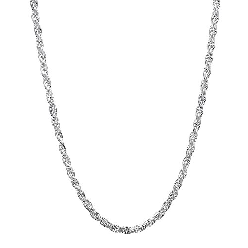 1.8mm 925 Sterling Silver Nickel-Free Diamond-Cut Rope Link Italian Chain, 24