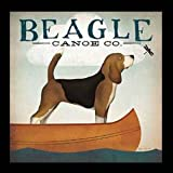 "buyartforless IF WAP 13366 1.25"" Blk Plexi Framed Beagle Canoe Co Ryan Fowler Vintage Advertisement Ads Animals Dogs Print Poster 12X12"