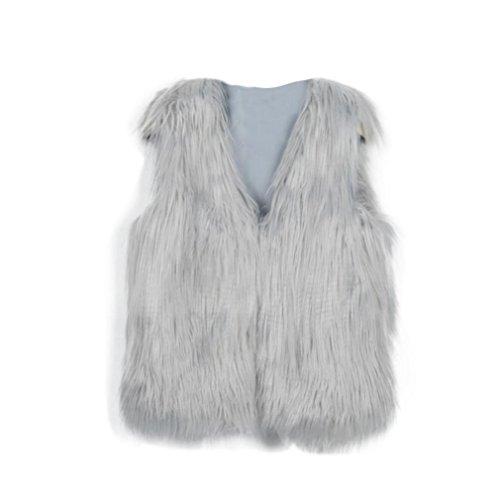 Mchoice Baby Faux Fur Girl Sleeveless Vest Waistcoat Jacket Gilet Shrug Coat Outwear (XXXL, Grey)
