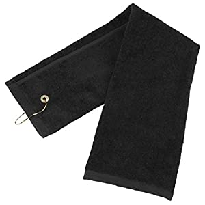 "Zelta Tri-Fold Golf Towel with Carabineer Bag Clip, Cotton Terry-Cloth Black 16"" x 25"""