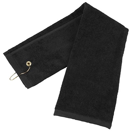 Zelta Tri-Fold Golf Towel with Carabineer Bag Clip, Cotton Terry-Cloth Black 16' x 25'