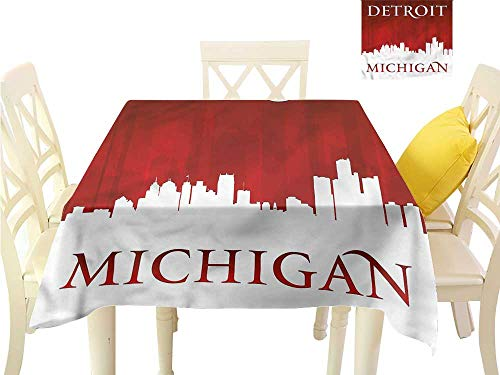 WilliamsDecor Fabric Tablecloth Detroit,Michigan City Letters Dinning Tabletop Decoration W 54