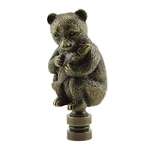 Antique Brass Baby Bear Finial 3.10'' Tall Vintage Gold Look Shade Topper Animal Fishing Theme Salmon Trout Outdoor Wildlife Shade Nut Screw