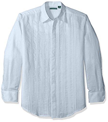 (Cubavera Men's Long Sleeve Linen-Blend Pleated-Front Button-Down Shirt, Cashmere Blue, XX-Large)