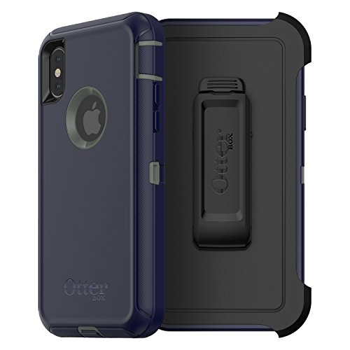 (OtterBox DEFENDER SERIES SCREENLESS EDITION Case for iPhone Xs & iPhone X - Retail Packaging - STORMY PEAKS (AGAVE GREEN/MARITIME)
