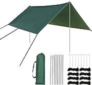 Camping Tarp with Poles-10x10FT Hammock Rain Fly Tarp-UV Protection and Waterproof Lightweight Tent Tarp-Easy