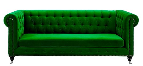 (Tov Furniture The Hanny Collection Elegant Velvet Fabric Upholstered Wood Living Room Sofa Couch, Green)