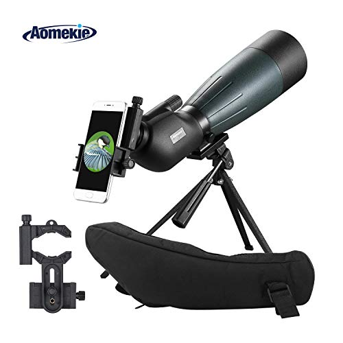 AOMEKIE Spotting Scope with Tripod Phone Adapter Case 20-60X80 for Target Shooting Hunting Bird Watching Waterproof Fogproof FMC BAK4 45°Angled Monocular Telescope