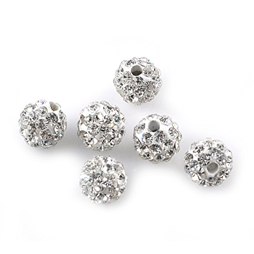 Housweety Bijoux Accessoires 5 Perles strass pave boule Pate polymere+Strass Blanc 6mmDia.