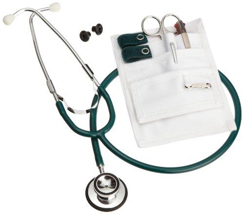 ADC Nurse Combo-Lite Kit with Pocket Pal II Medical Organizer, Lister Bandage Scissor, 3-Color Pen, Adlite Disposable Penlight, and Proscope 670 Dual-Head Stethoscope, Dark Green