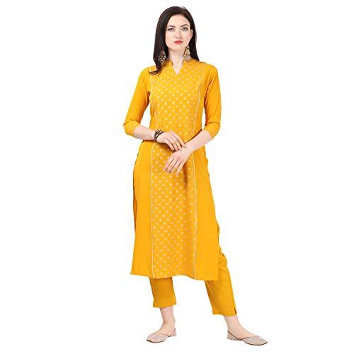 NAINVISH Women Yellow Crepe Straight Kurti with Pant Set (SD031)