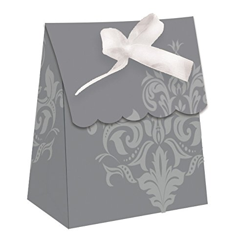 (Creative Converting 12 Count Silver Anniversary Favor Bags with Ribbon, Silver)
