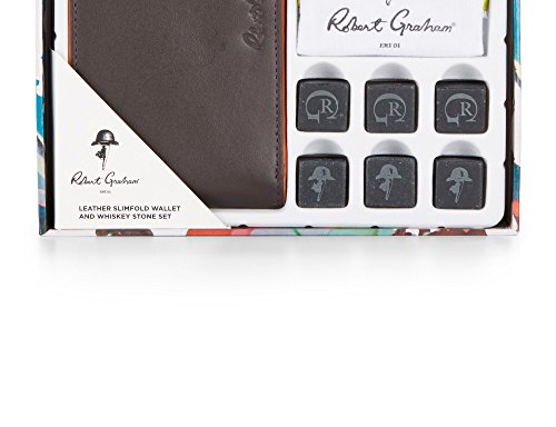 Robert Graham Men's Leather Slimfold Wallet & Whiskey Stone Set, OS, Brown by Robert Graham