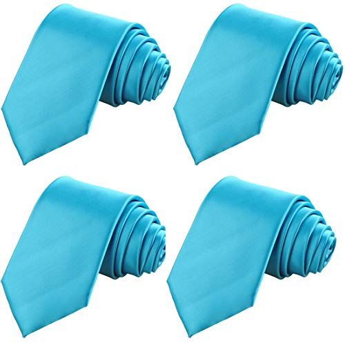 KissTies 4PCS Ice Blue Ties Solid Satin Tie Wedding Neckties + 1 Magnetic Box