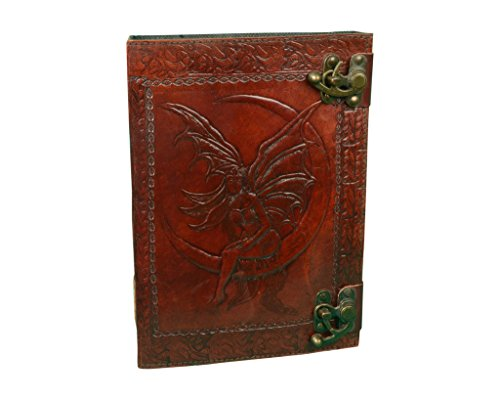 Making Memories Embossed Leather - Vintage Leather Bazaar Embossed Leather Crescent Moon Fairy 120 Leaf Diary Journal With Two Lock 10 Inch