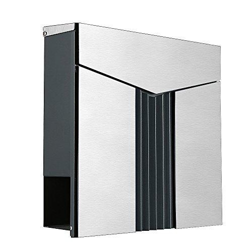 LZQ Modern Design Letter Box Brushed Stainless Steel with Newspaper Compartment Anthracite Post Box Wall Post Box with Newspaper Holder