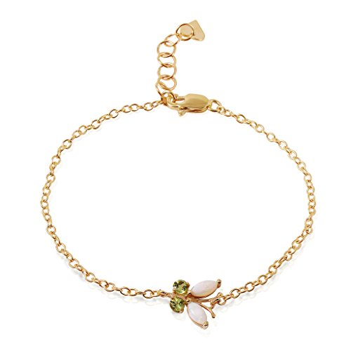 14k Yellow Gold Opal and Peridot Butterfly Bracelet ()