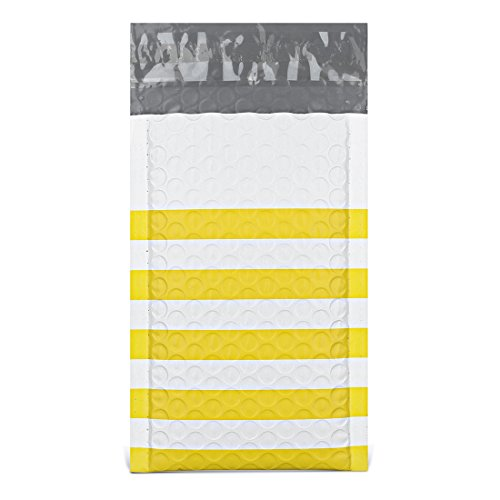 Fu Global Poly Bubble Mailers 4x8 Inches Padded Envelopes #000 Yellow Stripe 50pcs