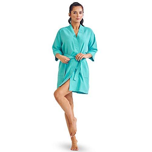 (Lightweight Knee-Length Waffle Kimono Robe, Bridesmaids and Spa Bathrobes (Aqua, XX-Large))
