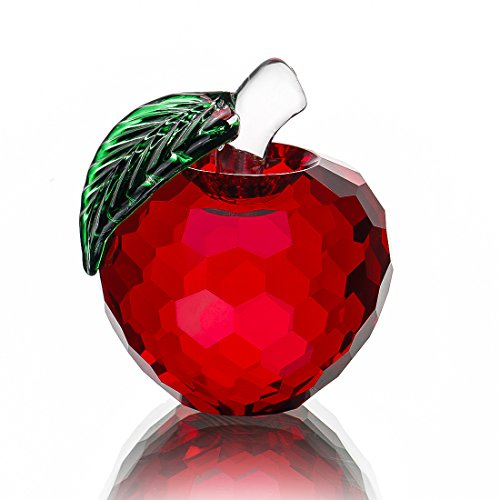H&D Crystal Red Apple Paperweight 40mm Art Glass Apple Collectible Figurines Best for Christmas Eve Gifts Home Wedding Decor Gifts