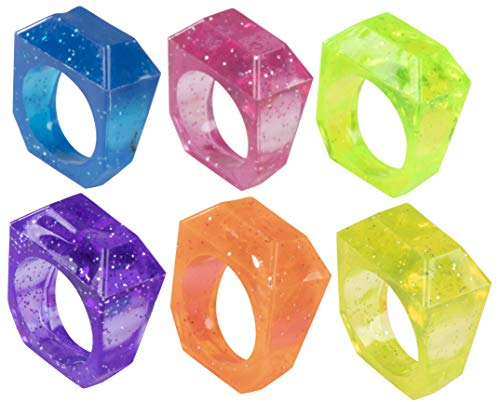 Plastic Rings - 96-Piece Crystal Ring Toys, Princess Rings, Perfect for Girls Princess Themed Birthday Parties Party Favors, Goody Bag Fillers, Cupcake Toppers, 6 Assorted Colors, 0.9 x 1.1 x 0.5 Inch