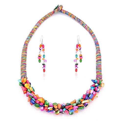 ShanBo Boho Necklaces Bohemian Natural Red Coral Rainbow Shell Turquoise Necklace Earrings Set Clavicle Choker for Women