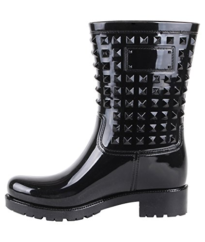 Stud Wellington Calf Boots (Black, US 10),[4056-BLK-8] by KRISP (Image #4)