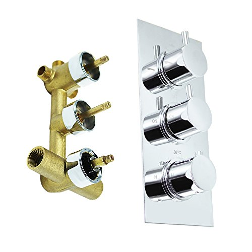 HOMEDEC Brass Concealed 3-Way Thermostatic Valve Shower Mixer with Round Knobs,Chrome ()