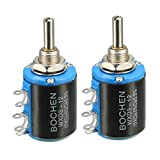 uxcell® 10K Ohm Adjustable Resistors Wire Wound Multi Turn Precision Potentiometer Pots 2pcs