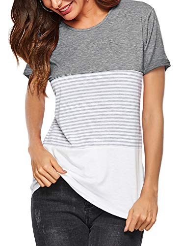 Amoretu Women's Summer Tshirts Casual Striped Short Sleeve Tops Blouse Gray XXL