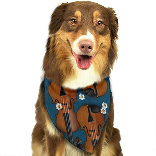 ROCKSKY Pet Dog Bandana Triangle Bibs Scarf Colorful Violin Pattern Hankie Headchief for Dogs and Cats - Birthday Bandana Scarves Great Dog Gift Idea]()