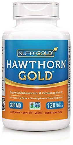 Nutrigold Hawthorn Gold (European Pharma Grade) (Clinically-proven), 300 mg, 120 veg. capsules by Nutrigold by Nutrex Research, Inc.