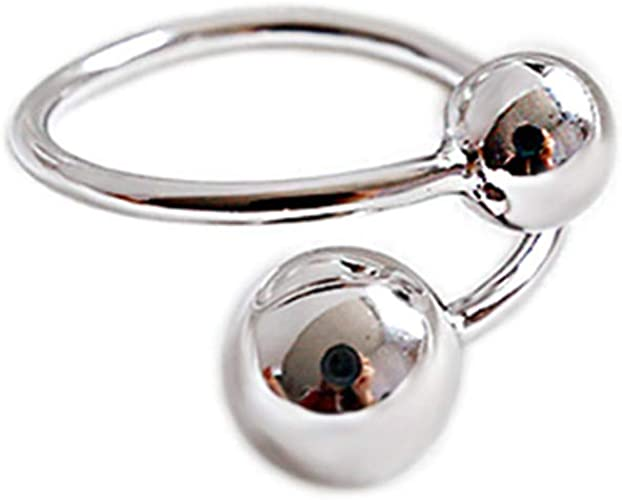 Sterling Silver Dangle Freshwater Cultured Pearl Flower Open Ring Adjustable Tassel Band Stacking Ring for Women Girls
