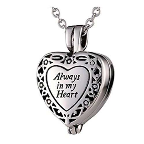 Lauren Annabelle Studio Always in my Heart Cremation Urn Jewelry, Stainless Steel Pendant Locket Necklace for Men and (Always Angel Heart Pendant)