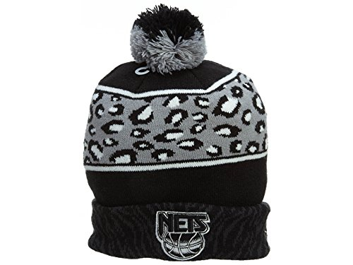 Hat New Print Era - New Era Men's New Jersey Nets Polar Prints Beanie One Size Black White
