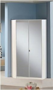 Berlin 2 door corner wardrobe mirrored and alpine white for 1 door mirrored corner wardrobe