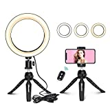 "UBeesize 8"" Selfie Ring Light with Mini Tripod Stand & Cell Phone Holder for Live Stream/Makeup, Mini Led Camera Ringlight for YouTube Video/Photography Compatible with iPhone Xs Max XR Android"