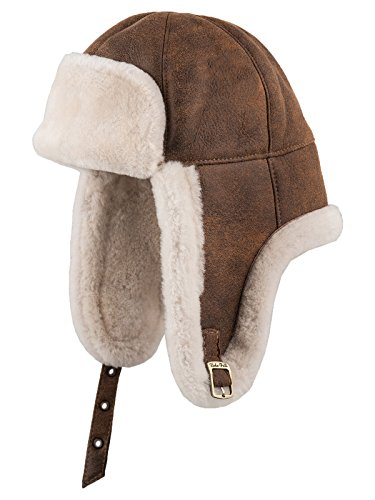 fc9975314dd Sterkowski Warm Winter Shearling Leather Trapper Cap US 7-7 1 8 Cinnamon  Brown