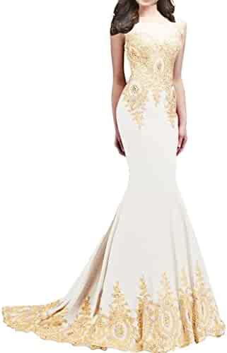 d9818d84677b Lemai Shiny Crystals Long Mermaid Formal Prom Pageant Evening Dresses Gold Lace  Sheer