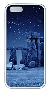 Stone Henge Blue Custom TPU Case Cover for Apple iPhone 5S and iPhone 5 White