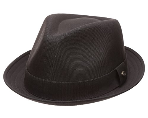 MIRMARU Men's Classic Trilby Striped Short Brim Fedora Hat with Band.(2784-Black/SM) (Fedora Striped Mens)