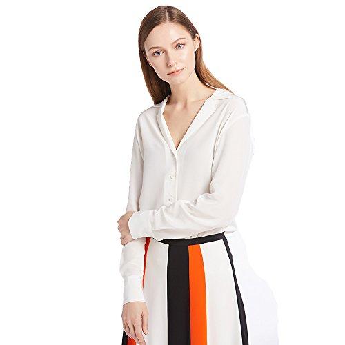 LilySilk Women's 100% Silk Blouse Long Sleeve V Neck Ladies Shirt 18 Momme Pure Silk White Size S