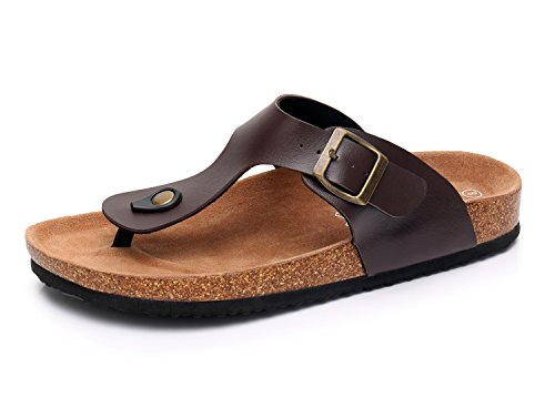 Men's Slip on Flat Cork Sandals with Adjustable Strap Buckle Open Toe Slippers Suede Sole (12, Brown)