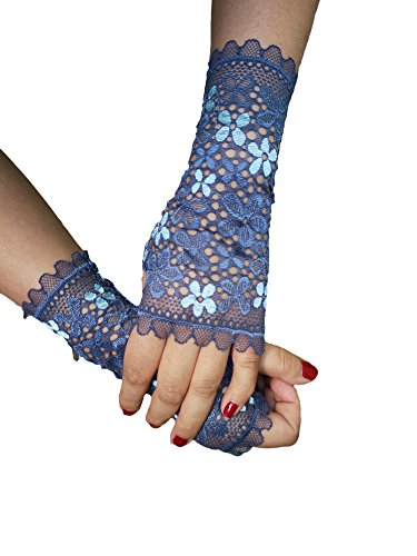 (YuRong Floret Lace Gloves Stage Gloves Party Gloves Cosplay A07 (Navy))