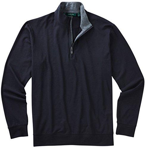 Bobby Jones Mens Liquid Cotton 1/4 Zip Pullover, Black, Large