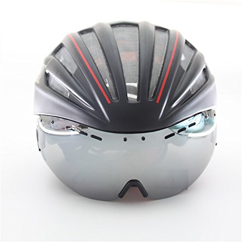 Mens Mountain Bike Cycling Helmet Ultralight Integrally-Molded Bicycle Helmet With Lens SCB01